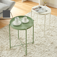 Simple Nordic Style Small Coffee Table, Wrought Iron Round Tray, Folding Side Table Tea Table