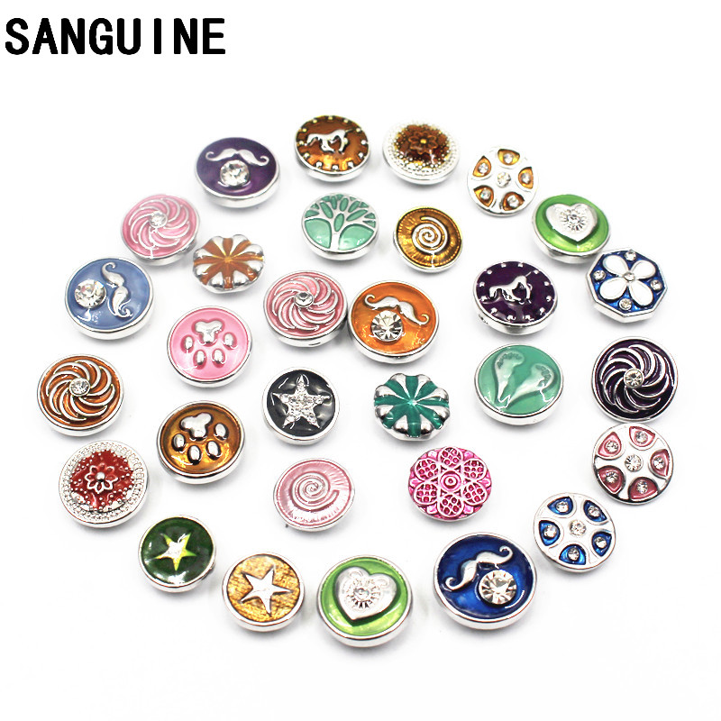 Wholesale Mixs 10pcs/lot Metal Silver Crystal Enamel Small Snap Buttons Fit 12mm Snap Bracelet Necklace DIY Jewelry Making image