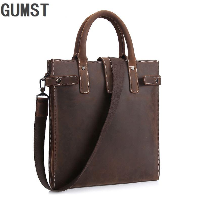 GUMST 2019 New Genuine Leather Business Men's Briefcase Office Laptop Bag Vintage Simple Pure Color Work Bag Men Bag Male