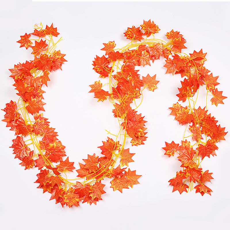 Vine Garland Decoration Fake Foliage Maple-Leaf Window-Autumn-Leaves Garden Home 1ft