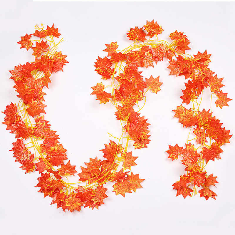 Window Autumn Leaves Garland Maple Leaf Vine Fake Foliage Decoration 2.4m 1ft Home Garden New Arrivals