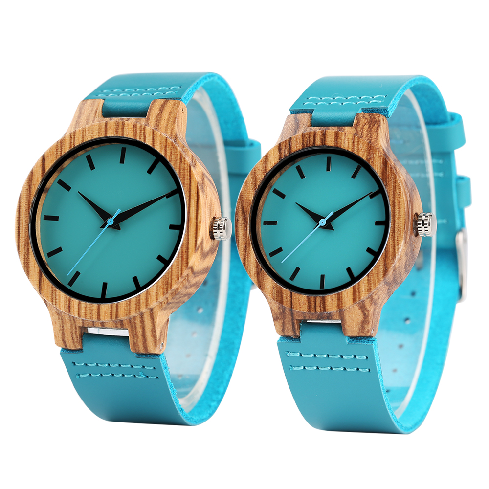 Fashion Bamboo Wood Watch Women Zebra Wooden Blue Genuine Leather Band Men Watches Creative Quartz Couple Clock Lover's Gift creative rectangle dial wood watch natural handmade light bamboo fashion men women casual quartz wristwatch genuine leather gift