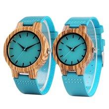 часы мужские Древесины Бамбука Смотреть Для женщин Зебра деревянный Синий кожаный ремешок Для мужчин часы Творческий Кварц пару часов подарок любовника часы женские браслет для часов