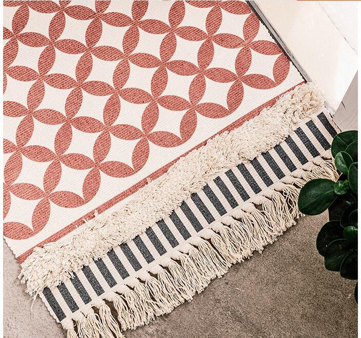 Style nordique Simple coton tapis pour salon chambre tapis spécial gland mode tapis porte tapis canapé Table chaise tapis zone tapis - 5