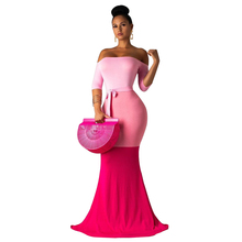 Adogirl Color Patchwork Mermaid Evening Party Dress Elegant Women Half Sleeve Off Shoulder Bodycon Maxi Robe Long Vestidos