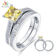 1.5 Ct Princess Cut Yellow Canary Created Diamond Solid 925 Sterling Silver 2-Pc Engagement Wedding Ring Set Jewelry CFR8194S