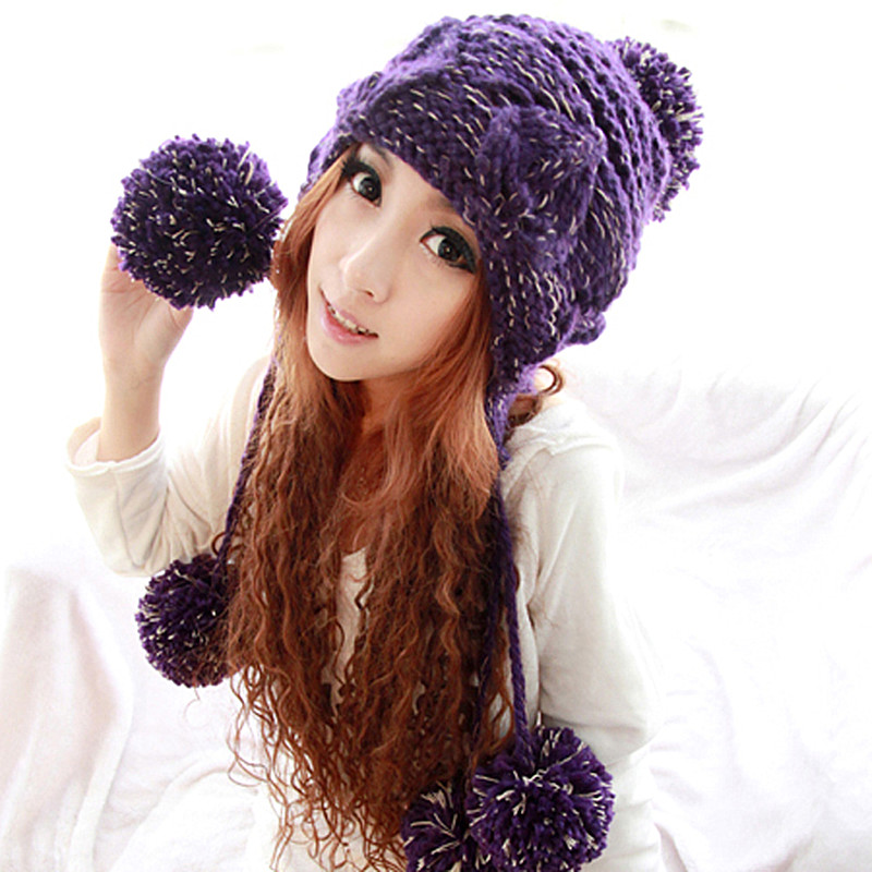 bae735c45a9 BomHCS Cute Handmade Beanie with Five Poms Women Winter Warm Knit Hat Caps  Gift