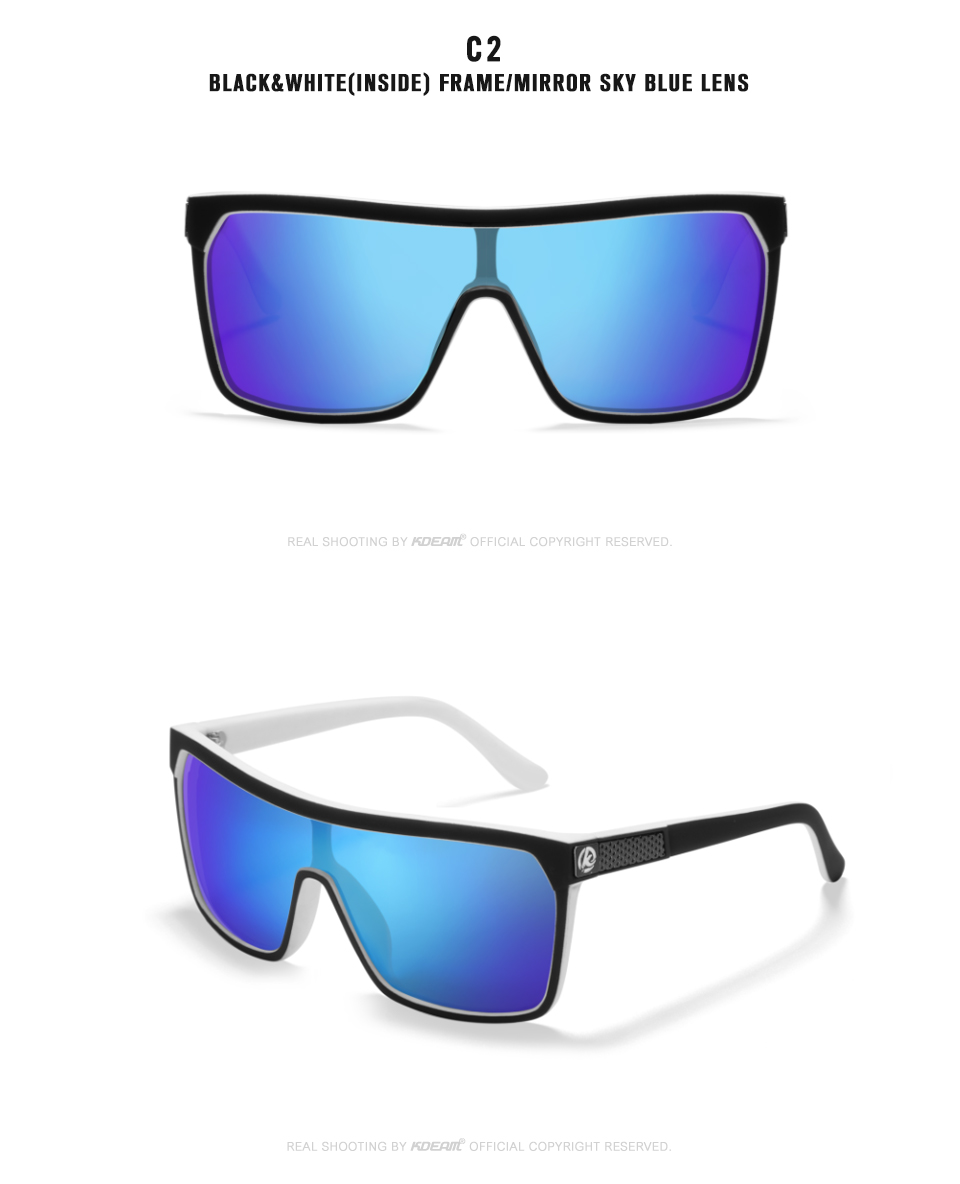 KDEAM New oversize Shield Sunglasses Men Polarized & UV400 protection Sun Glasses Women Vintage Big-size Goggles  KD803