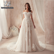 2021 Off the Shoulder Nude Color Bridal Dress with Lace Applique Reals Bridal Dress New Coming Robe De Soiree Longue