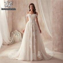 2021 свадебное платье с открытыми плечами телесного цвета с кружевной аппликацией Reals Новое поступление Robe De Soiree Longue