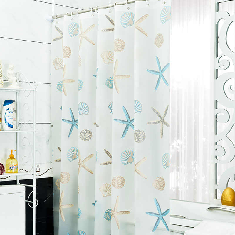 New Bathroom Waterproof Mildew Proof Shower Curtain with 12pcs Curtain Hooks Rings 180cm*200cm