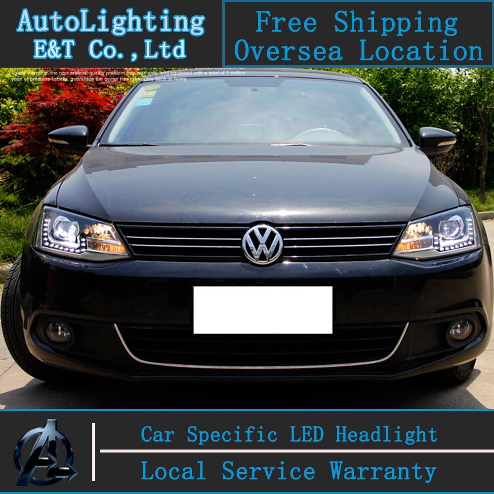 Car Styling For VW Jetta headlights 2011-2014 for VW Jetta MK6 LED headlight Jetta led drl H7 hid Bi-Xenon Lens low beam