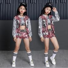 New Children Jazz Modern Dance Costume Kids Hip Hop Clothing Streetwear Sequin Hiphop Jacket T-shirt Dresses For Girls