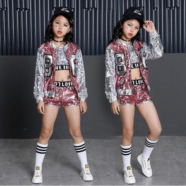 Trẻ Em mới Jazz Nhảy Hiện Đại Trang Phục Trẻ Em Hip Hop Quần Áo Dạo Phố Đầm Hiphop Áo Khoác Áo Thun Jazz Đầm Dành Cho Bé Gái