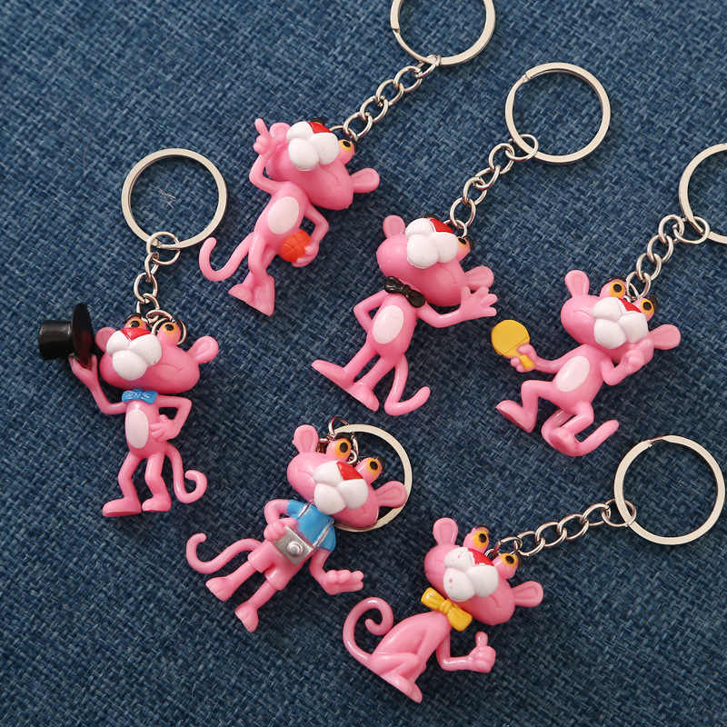 Anel de chave dos desenhos animados da pantera cor-de-rosa chaveiro presente para as mulheres meninas saco pingente pvc figura encantos chaveiros jóias porte clef