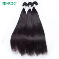 Malaysian Straight Hair Bundles Virgo 3 Bundle Deals 10 28 Inches Remy Hair Weave Extensions 100% Real Human Hair Bundles