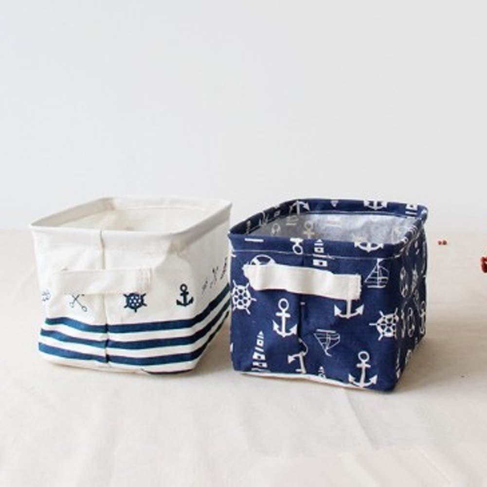Cotton Linen Home Storage Box Clothes Organizer Folding Office Desk Organizer 4 Colors Makeup Organizer for Cosmetics