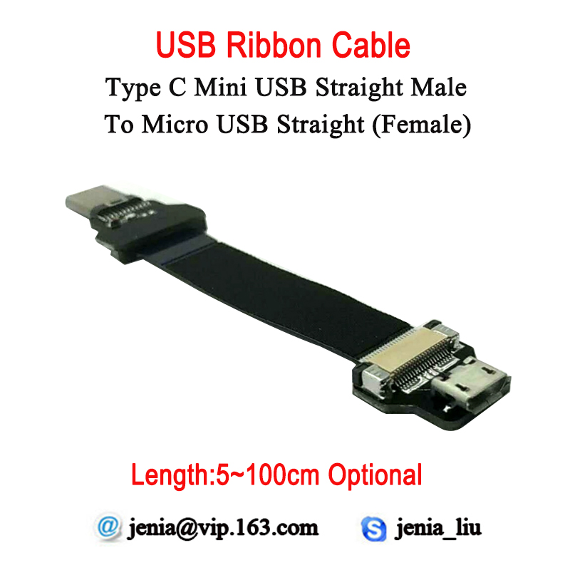 5CM To 100CM Ultra Thin USB Flat Ribbon Cable Type D Micro Straight Female To Male Type C Straight Connector Converter Adaptor