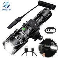 Linterna táctica LED ultrabrillante recargable por USB, luz de explorador impermeable, luz de caza, 5 modos por batería 18650