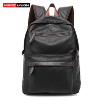 MAGIC UNION Oil Wax Leather Backpack Casual Bags Travel Backpacks For Men Fashion Style Leather School