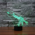Cool 3D Machine Gun Lamp LED Night Light Atmosphere Room Table Lamp As Gifts Powerbank Powered