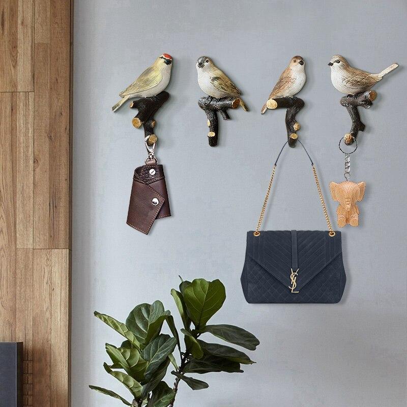 4 개/대 귀여운 새 크리 에이 티브 수지 동물 모델 미국 장식 후크 욕실 후크 버드 후크 벽 교수형 후크-에서후크 & 레일부터 홈 & 가든 의  그룹 1