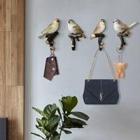 4pcs/set Cute Bird Creative Resin Animal Model American Decorative Hook Bathroom Hook Bird Hook Wall Hanging Hook