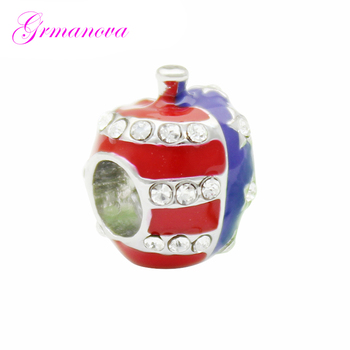 American American Flag Star White Synthetic Crystal Love Charm Beads DIY Handmade Jewelry Fit Pandora Bracelet Necklace image