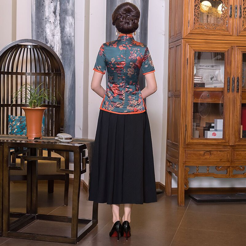 À Chinois Chemise 1854 Courtes Jupe Femmes Chemisier Soie 1856 4xl S 9980 New Taille Plus 1857 Summer Col Traditionnels Vêtements 1868 Mandarin Manches Ensembles qSwWzCY