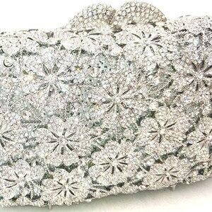 Image 2 - Femmes soirée sac de fête diamants luxe cristal embrayage mariée mariage fête sacs à main sac fleur chrysanthème cristal sacs à main