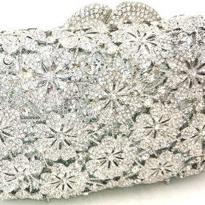 Image 2 - Women evening party bag diamonds luxury crystal clutch bridal wedding party purses bag flower chrysanthemum crystal purses