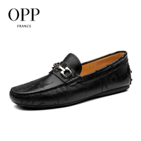OPP 2017 Cow Leather Flats Comfortable Blue Shoes Genuine Men's Leather Loafers Shoes moccasins Summer Mens Casual Footwear