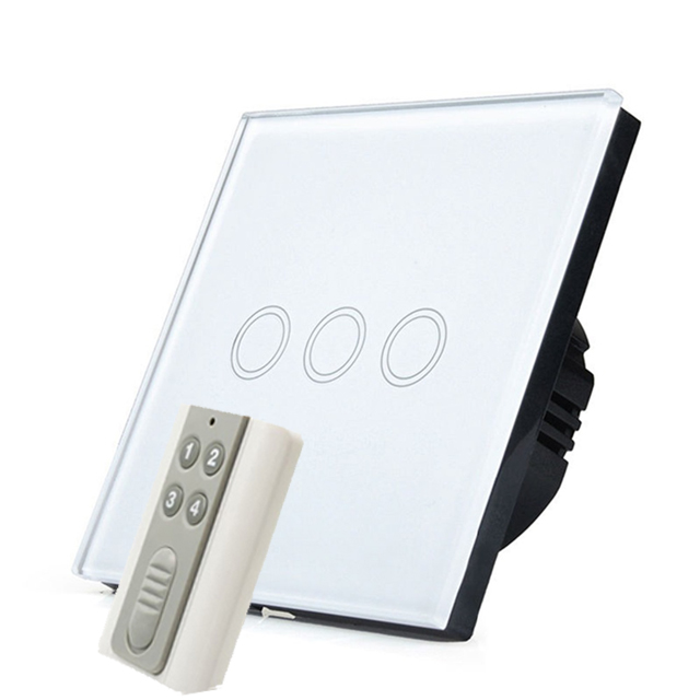 Smart Home EU Touch Switch Wireless Remote Control Wall Touch Switch 3 Gang 1 Way White Crystal Glass Panel Waterproof power eu 1 gang wallpad wireless remote control wall touch light switch crystal glass white waterproof wifi light switch free shipping
