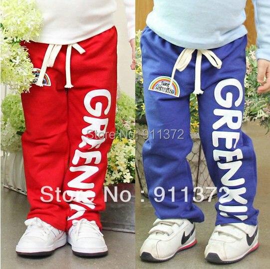 дети в спорт брюки, красный и синий дети брюки 100% хлопок мальчики и девочки брюки. звезда похвалы