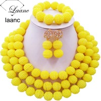 Laanc Simulated Pearl Yellow Nigerian Wedding African Beads Jewelry Set For Women SP3R014