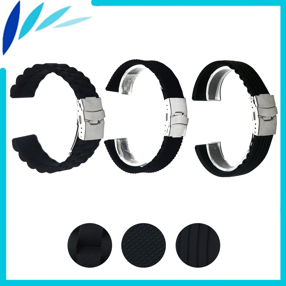 Silicone Rubber Watch Band 18mm 20mm 22mm 24mm for Citizen Stainless Steel Safety Clasp Strap Wrist Loop Belt Bracelet Black silicone rubber watch band 22mm 24mm for orient stainless steel clasp strap wrist loop belt bracelet black spring bar tool