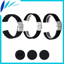 Silicone Rubber Watch Band 18mm 20mm 22mm 24mm for Citizen Stainless Steel Safety Clasp Strap Wrist Loop Belt Bracelet Black
