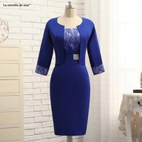 New Lace Satin 3/4 Sleeve Jacket Sexy Mermaid Royal Blue Mermaid mother bride dress Tea Length Wedding Guest gown Real photo