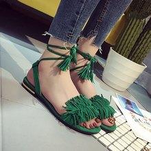 cootelili 36-39 shoes woman fashion tassel straps flat sandals for women flip-flops women summer beach shoes black green red