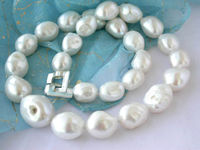 Large White Baroque 925 Sterling Silver Fresh Water Pearl Necklace 100 Natural Freshwater Pearl Necklaces High