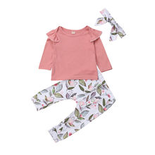 Toddler Kids Baby Girls Cotton Tops Long Sleeve Solid T-shirt Floral Long Pants Outfits Clothes Set 2019 autumn newborn toddler baby kids girls clothes long sleeve floral hooded tops leggings pants outfits cotton two piece set
