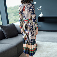 Slim High Waist Colorful Print Long Sleeve Chiffon Pleated Calf Length Dress Summer Spring New 2018 Women Elegant Style