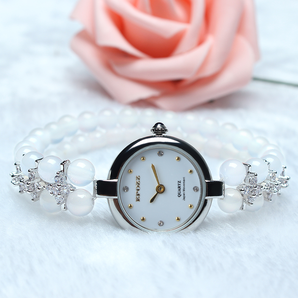 Beauties of Emperor EPOZZ nature gemstone series new quartz watch women 925 Silver white natural stone bracelet clock H1122S1