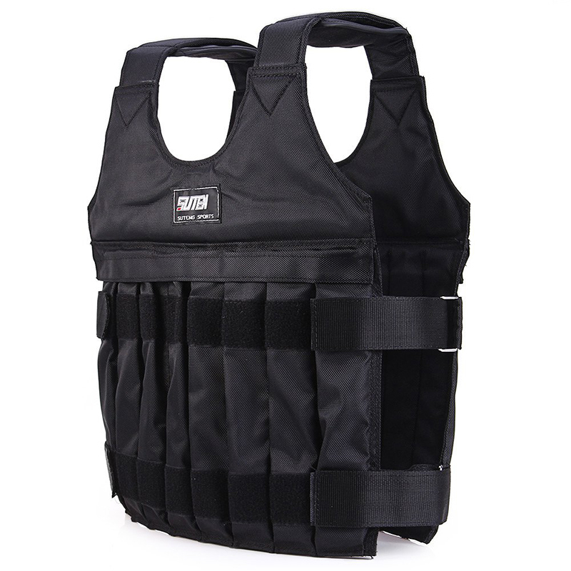 Max Loading 20kg Weighted Vest for Boxing Training Equipment Adjustable Exercise Black Jacket Swat Sanda Sparring Protect