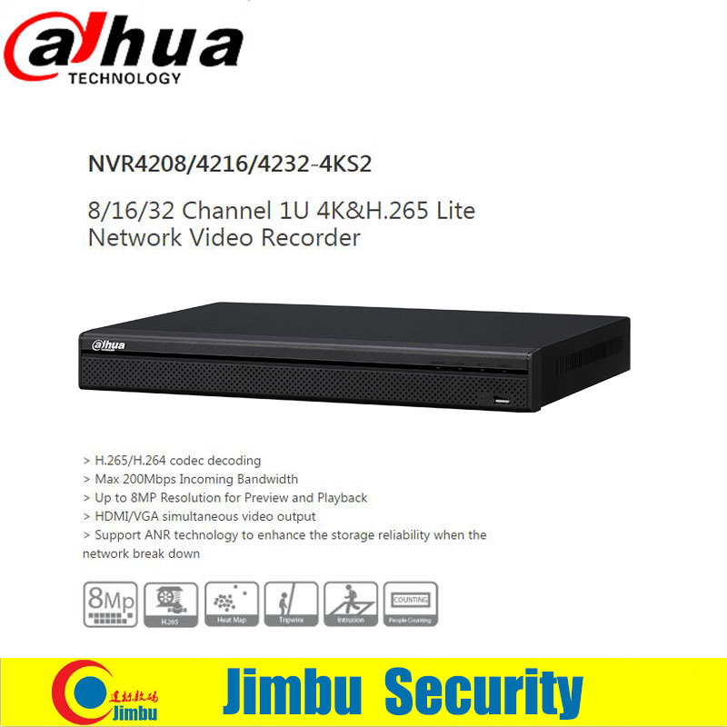 Dahua 4K H.265 NVR network video recorder 8ch DHI- NVR4208-4KS2 Up to 8MP Resolution for ...