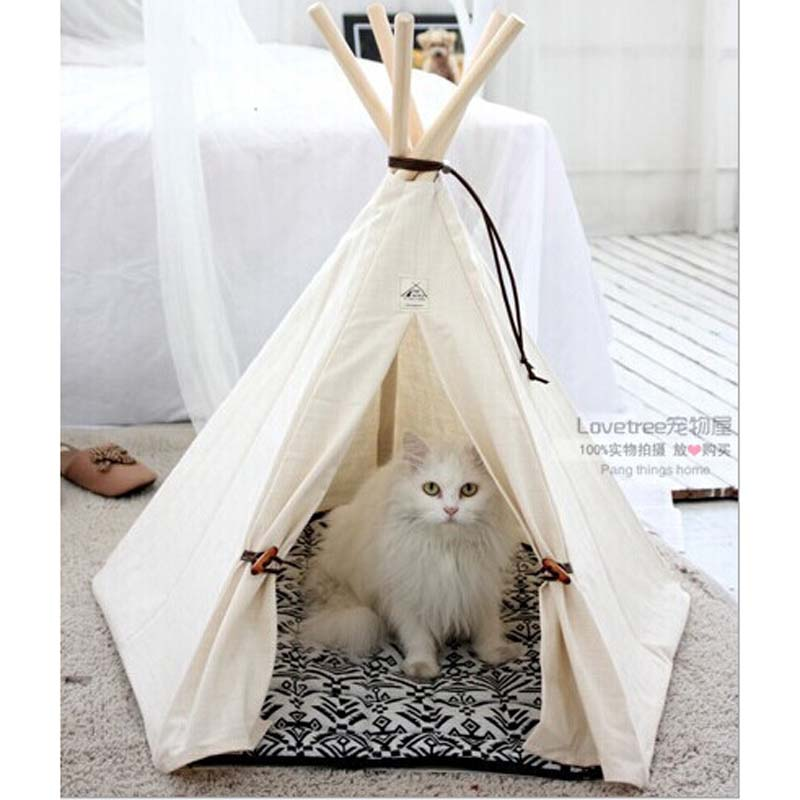 Pet bed teepee chic trendy small dog tent cat nap for Dog tipi diy