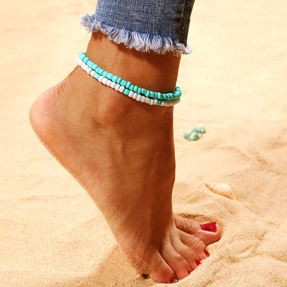 Popular Resin Lady Fashion Ankle Bracelet Beach Section Double  Beads Anklet Foot Jewelry tobilleras pulsera para tobillo #Y30