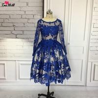 TaoHill/кружевное коктейльное платье Королевского синего цвета; элегантная Коктейльная одежда; платье трапециевидной формы с глубоким вырезо