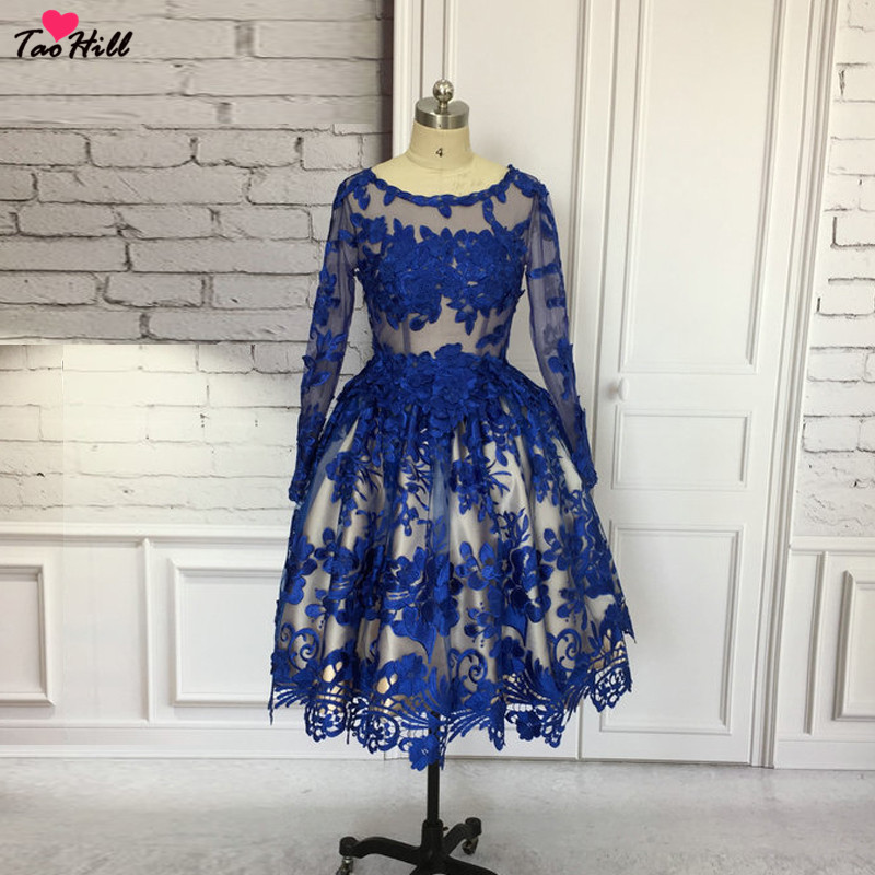 TaoHill Lace   Cocktail     Dress   Royal Blue Elegant   Cocktail   Gowns   Dress   A-line Scoop Neck with Long Sleeves
