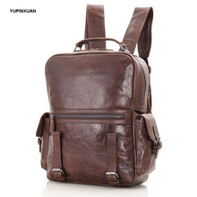 YUPINXUAN Unisex Oil Wax Cow Leather Backpacks 14″ Laptop Bags Real Leather School Bag Fashion Teenager Genuine Leather Mochilas